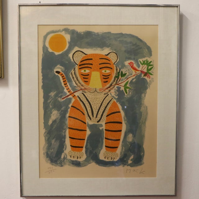 Tiger & Bird Lithograph by Henri Maik - Image 2 of 8