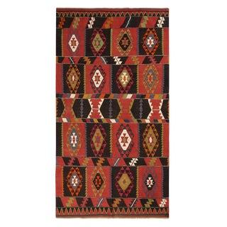 Vintage Esme Geometric Red and Black Wool Kilim Rug - 5′ × 9′ For Sale