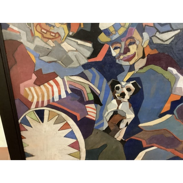 Midcentury Cubist Style / Folk Art Clown Painting For Sale In Atlanta - Image 6 of 12