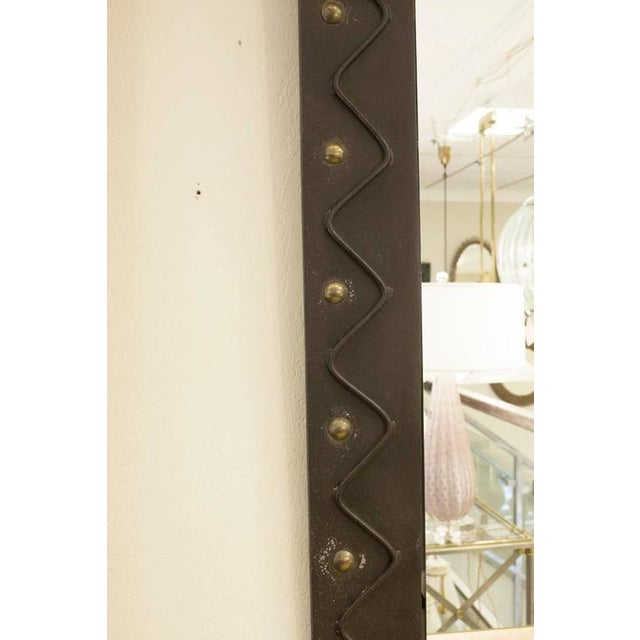 French Metal Brutalist Wall Mirror with Gilt Detail - Image 2 of 3