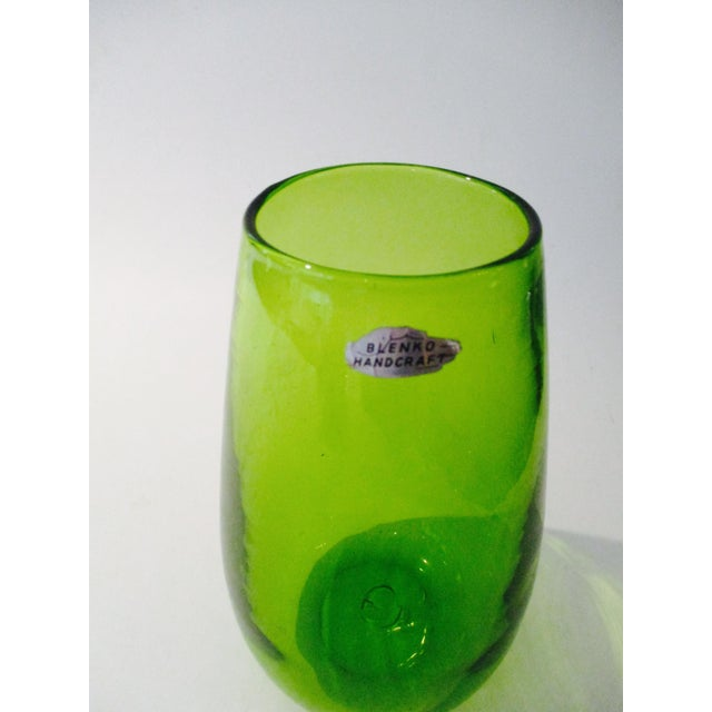 Blenko Green Art Glass Vase - Image 3 of 10