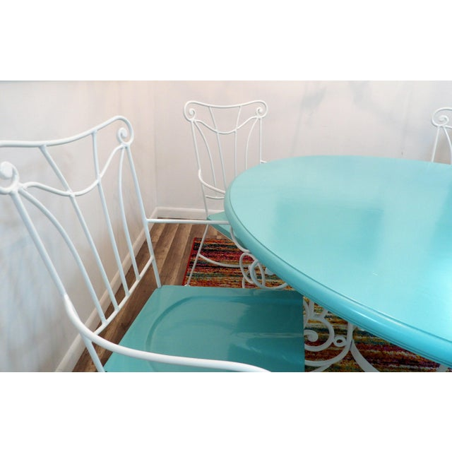 Metal Vintage Turquoise and White Wood & Iron Dining Set For Sale - Image 7 of 12