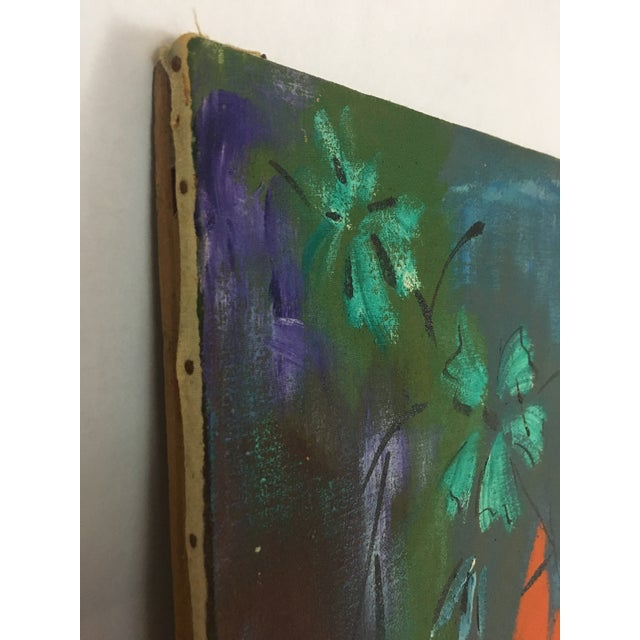 1960s Vintage Original Haitian Floral Still Life Oil Painting by Listed Artist Paul Beauvoir For Sale - Image 11 of 13