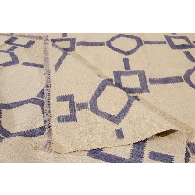 "Apadana Blue & Ivory Geometric Kilim - 9' X 12'2"" - Image 2 of 7"