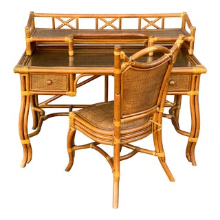 Vintage Boho Chic Rattan Desk and Chair - 2 Pieces For Sale