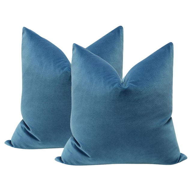 "22"" Cadet Blue Velvet Pillows - a Pair - Image 1 of 3"