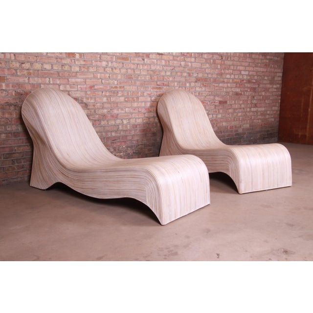 Betty Cobonpue Sculptural Split Reed Rattan Chaise Lounges, Pair For Sale - Image 9 of 13
