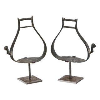1840s Russian Bronze Stirrups on Later Custom Steel Stands - a Pair