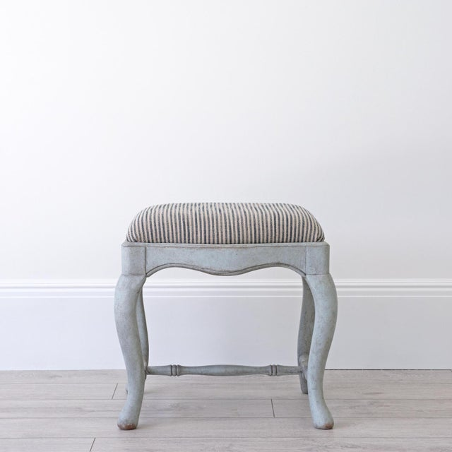 A bespoke hand made Swedish Baroque stool or 'tabouret' with beautiful curved cabriole legs and removable seat pad,...