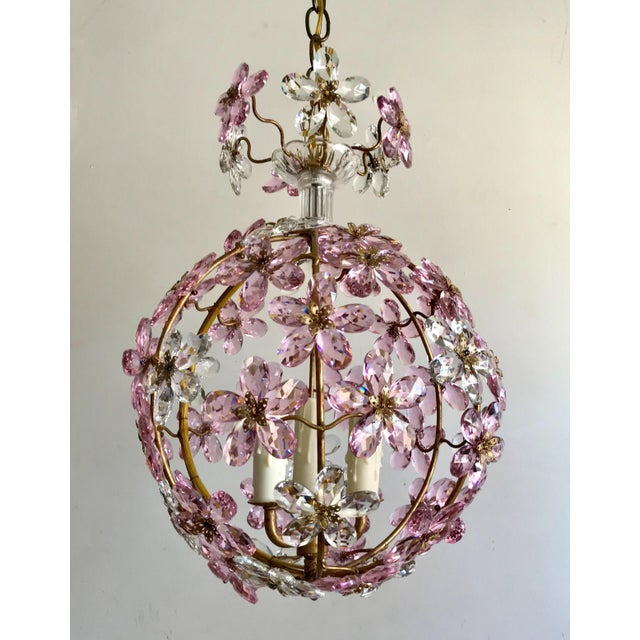 2010s Pink Floral Crystal Globe Beaded Chandelier For Sale - Image 5 of 5