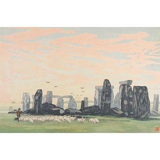 Urushibara Stonehenge by Day Woodcut For Sale