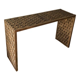Contemporary Hand Carved Oak Wood Console Table For Sale
