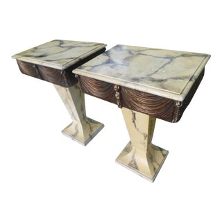 Hollywood Regency Pedestal Pushers Swag and Tassel End Tables - a Pair For Sale