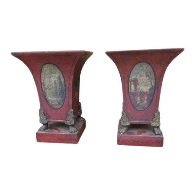 One Pair of English Tole Cachet Pot For Sale