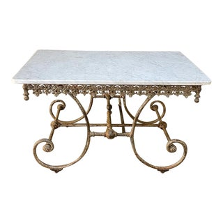 19th Century Iron Marble Top Confectioner's Table For Sale