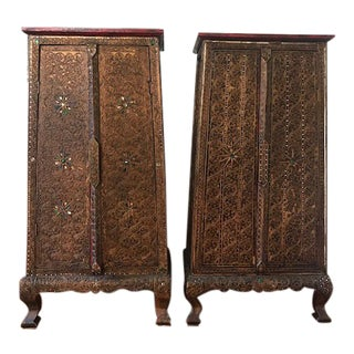 Ornate East Indian Side Tables - A Pair