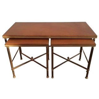 1940s Nesting Cocktail Tables With Original Leather Top For Sale