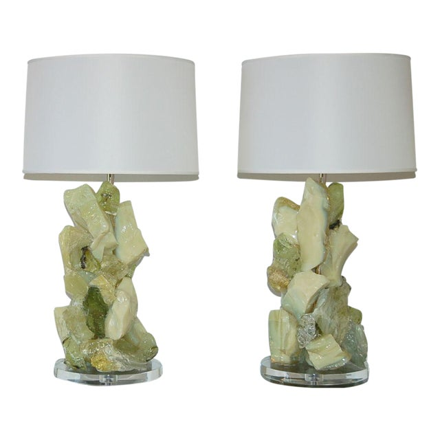 Glass Rock Table Lamps by Swank Lighting Green Gimlet For Sale