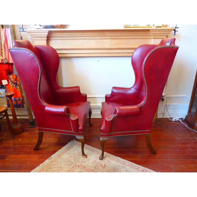 English Traditional Vintage Red Leather Wingback Chairs With Nailhead Detail and Generous Proportions- Pair For Sale - Image 3 of 13