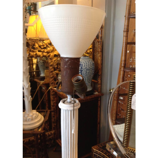 White 1930s Pencil Reed Floor Lamp Table For Sale - Image 8 of 13