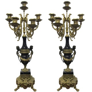 Pair of Italian Brevettato Brass Marble Candelabras For Sale