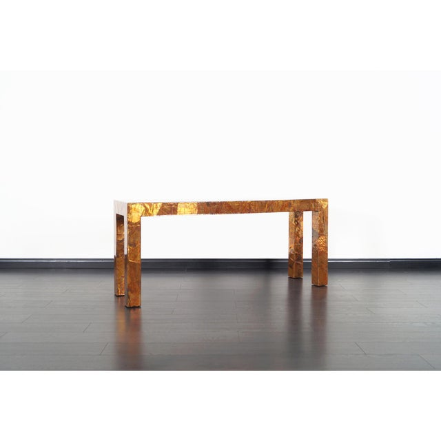 1970s 1970s Brutalist Copper Patchwork Console Table For Sale - Image 5 of 11