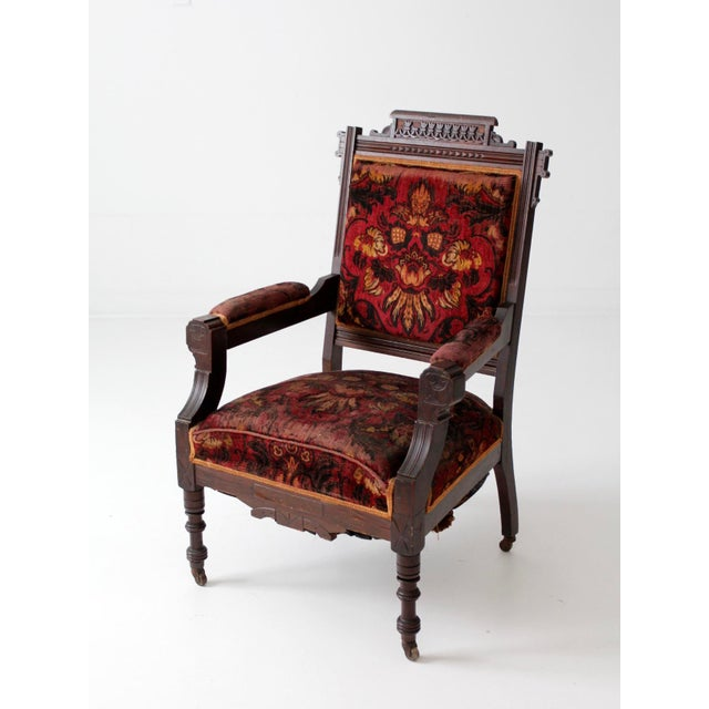 Red Antique Upholstered Arm Chair For Sale - Image 8 of 11