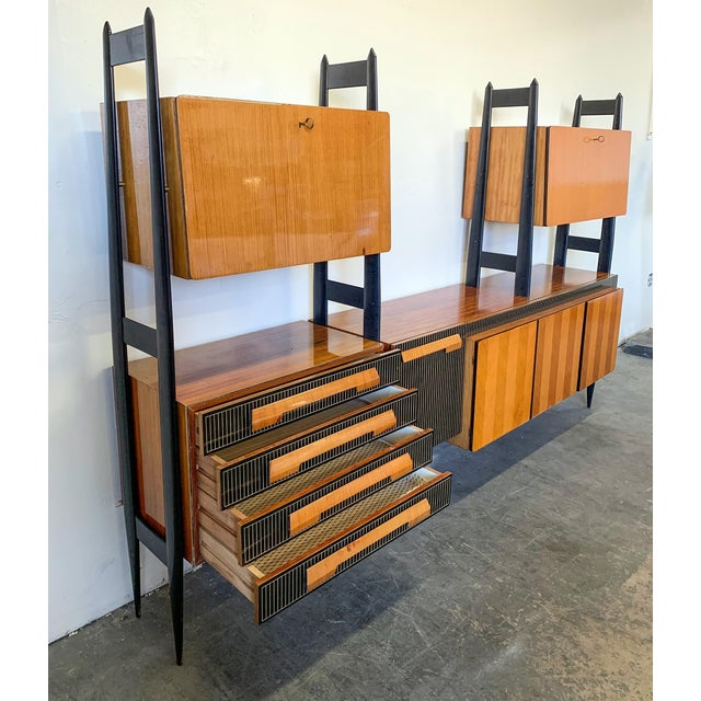 1950s Large Italian Modern Wall Unit, Italy, 1950's For Sale - Image 5 of 11