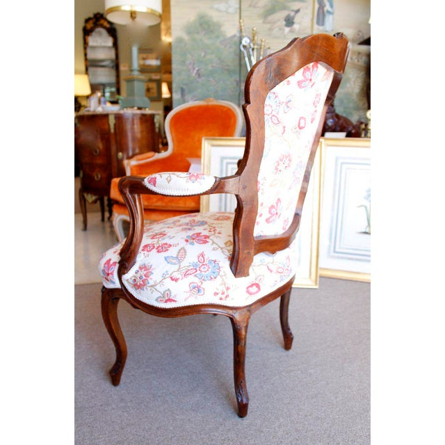 18th Century French Provincial French Louis XV Fauteuil Arm Chairs - a Pair For Sale - Image 4 of 10