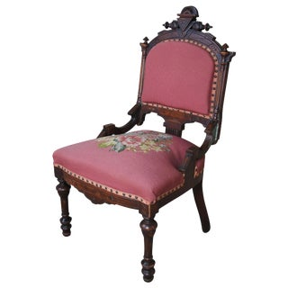 19th Century Victorian Walnut Burl Renaissance Revival Parlor Needlepoint Chair For Sale