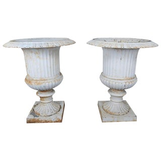 Monumental Painted Cast Iron Planters, Pair For Sale