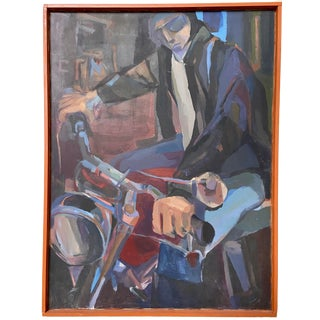 Vintage Mid Century Americana Modernist Oil Painting Hoffman Motorcycle Rider For Sale