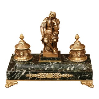 19th Century French Inkwell on Marble Base with Bronze Roman Figure and Mounts