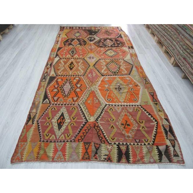 Decorative vintage unique kilim rug from Sivas region of Turkey.Approximatelly 55-65 years old.In very good condition