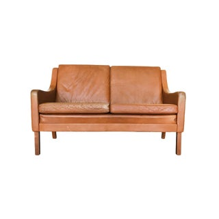 Danish Modern Leather Settee in the Style of Børge Mogensen For Sale