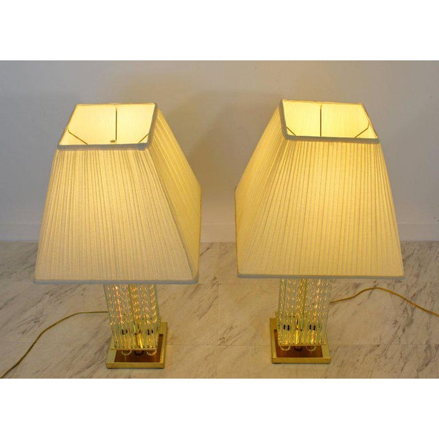 For your consideration is a gorgeous pair of brass and glass rod table lamps, by Sciolari, made in Italy, circa 1970s. In...