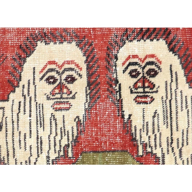 1960s Vintage Turkish Oushak Rug. Handwoven with wool on wool foundation in the Oushak region of Western Turkey. The...