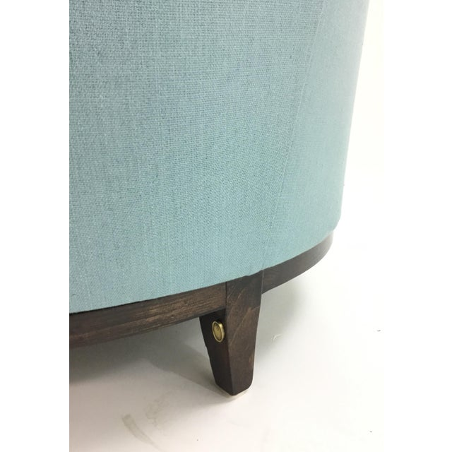 Barbara Barry for Henredon Robins Egg Blue Channel Back Tub Club Chair For Sale In Atlanta - Image 6 of 7