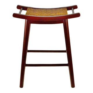 Asian Inspired Solid Mahogany and Hand Woven Rattan Counter Stool For Sale