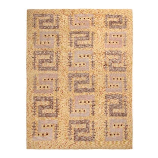 Rug & Kilim's Scandinavian-Inspired Geometric Golden-Yellow Gray Wool Rug For Sale