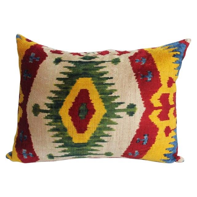 Red & Yellow Silk Velvet Ikat Pillow - Image 1 of 2
