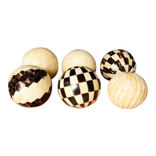 Decorative Tessellated Bone & Horn Spheres Set With Burl Wood Tray For Sale