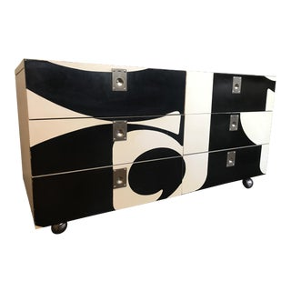 Vintage Contemporary Black and Ivory Side Table For Sale