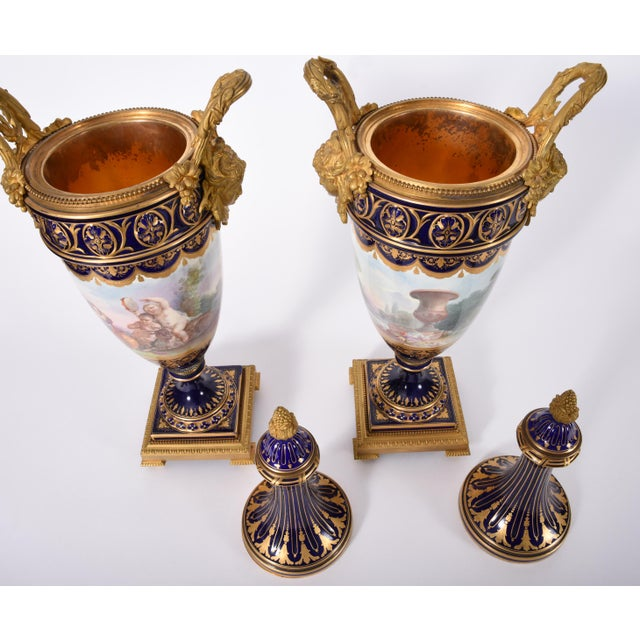 Early 19th Century Early 19th Century Bronze Mounted Porcelain Urns - a Pair For Sale - Image 5 of 13