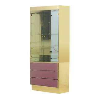 Vintage Ello Pink and Brass Display Cabinet