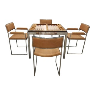 1970's Signed Willy Rizzo Gaming Table & Chairs For Sale