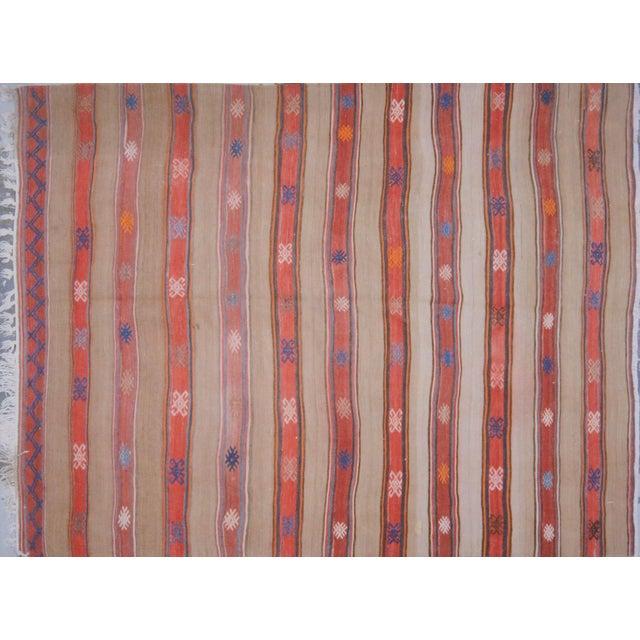 "1950s VintageTurkish Anatolian Hand Made Organic Wool Dowry Kilim,5'5""x7'5"" For Sale - Image 5 of 5"