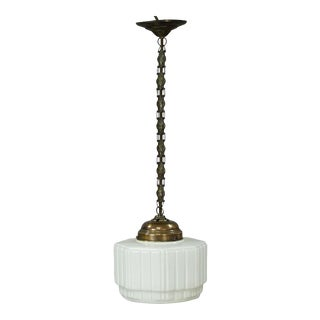 Antique Pendant Light With Large White Glass Shade Ca. 1920 For Sale
