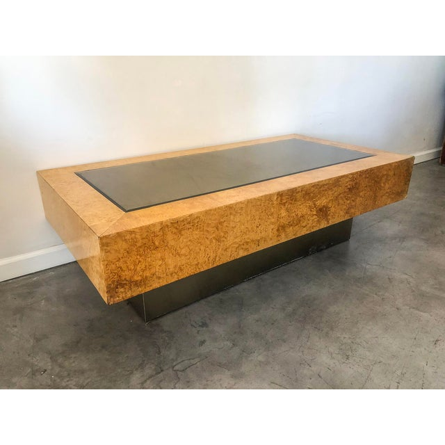 1970s Milo Baughman Burl ,Chrome, and Mirrored Coffee Table For Sale - Image 5 of 5