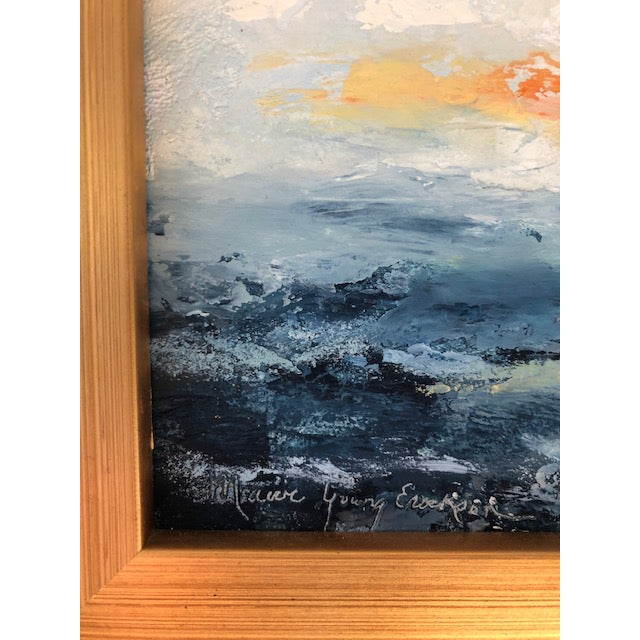 Abstract Encaustic Seascape Painting For Sale - Image 3 of 7
